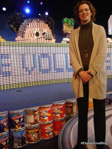 Michelle Nun with Canned Goods Sculpture