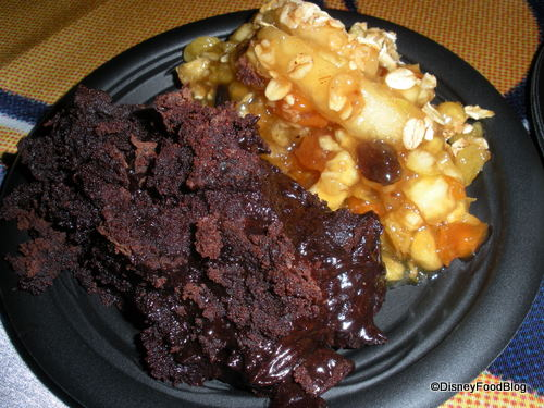 Brownie Torte and Apple Crumble on Plate