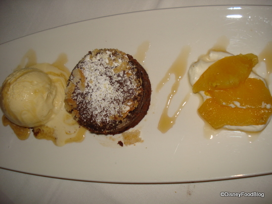 Chocolate Cake with Caramel Ice Cream and Pineapple