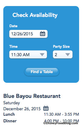 Blue Bayou Check Availability Tool on Blue Bayou's webpage
