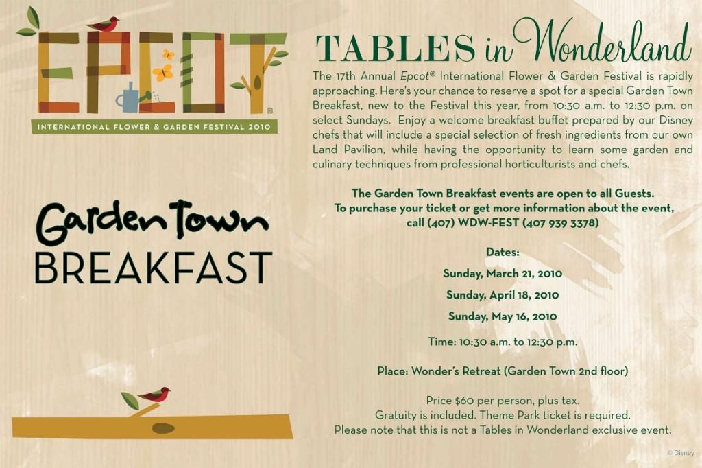 Tables in Wonderland Garden Town Breakfast