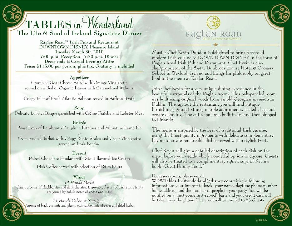 Tables in Wonderland Raglan Road March Event