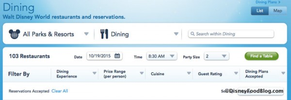 Disney World Dining Reservations Quick Search