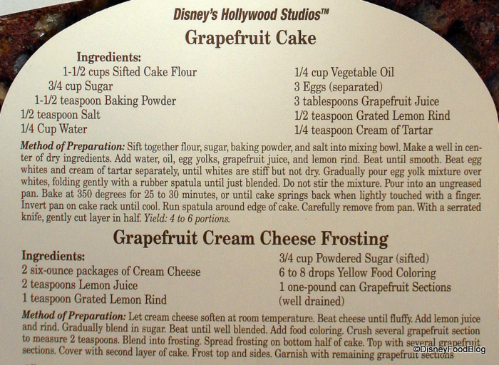 Brown Derby Grapefruit Cake Recipe