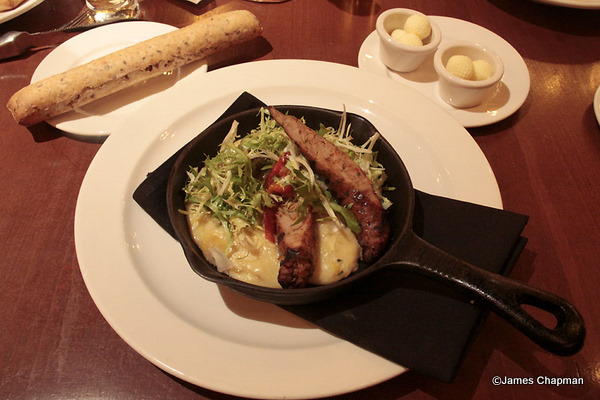 Le Cellier Sausage and Corn Polenta Appetizer
