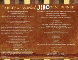 Jiko Wine Dinner May 6th
