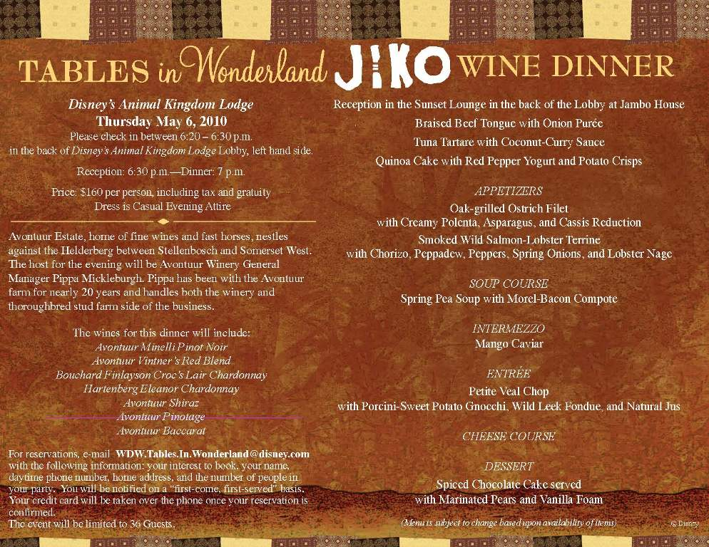 Jiko Wine Dinner May 6th. Tables In Wonderland ...