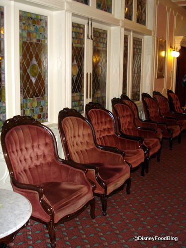Lobby Chairs and Stained Glass Windows
