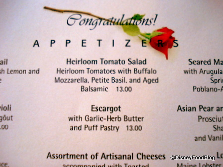Congratulations Menu from Yachtsman Steakhouse
