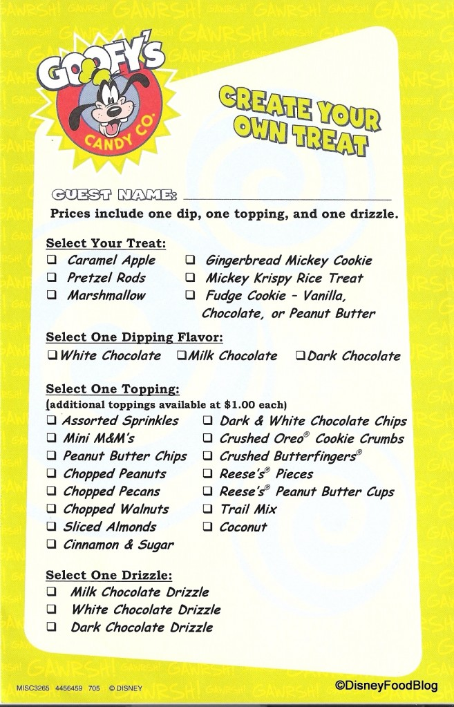 Goofy's Candy Company Order Sheet