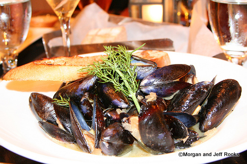 Braised Penn Cove Mussels with Fennel and Grilled Sourdough Toast