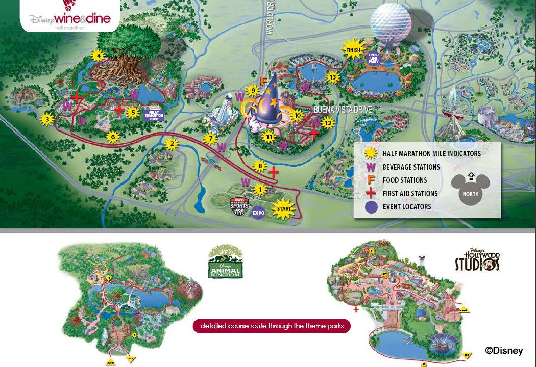 course maps for wine dine half marathon weekend the disney