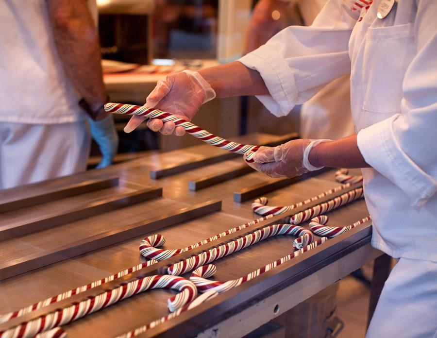 Making candy canes at Disneyland