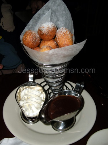 Zeppole with chocolate and cream here