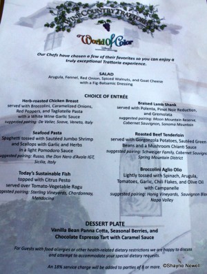 Wine Country Trattoria World of Color Menu -- click for larger image