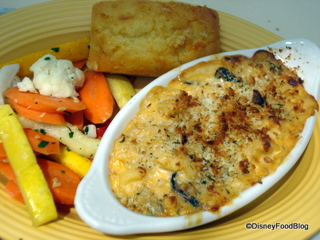 Four Cheese Pasta and Vegetable Gratin with Vegetables and Cornbread