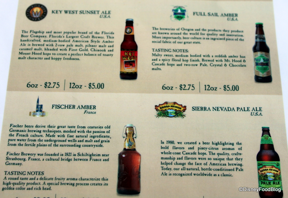 15 beers for 15 years booth at the epcot food and wine festival the menus are spelled out well with descriptions of each beer click the images below to see larger views fandeluxe Gallery
