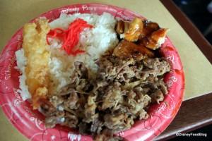 Tonosama Combination -- teriyaki chicken, sukiyaki beef, tempura shrimp