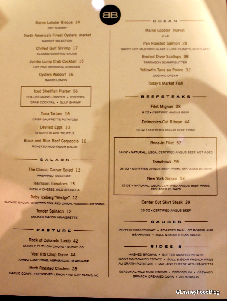 Old Black Bear Food Menu