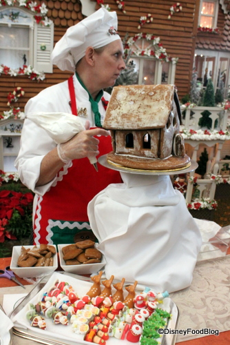 Gingerbread House decorating demonstrations happen several times per day