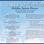 Tables in Wonderland December Event: Holiday Spirits Dinner
