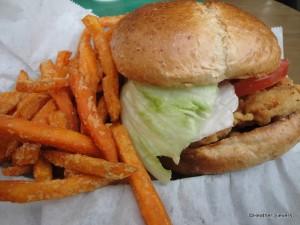 Crispy Chicken Sandwich with Sweet Potato Fries