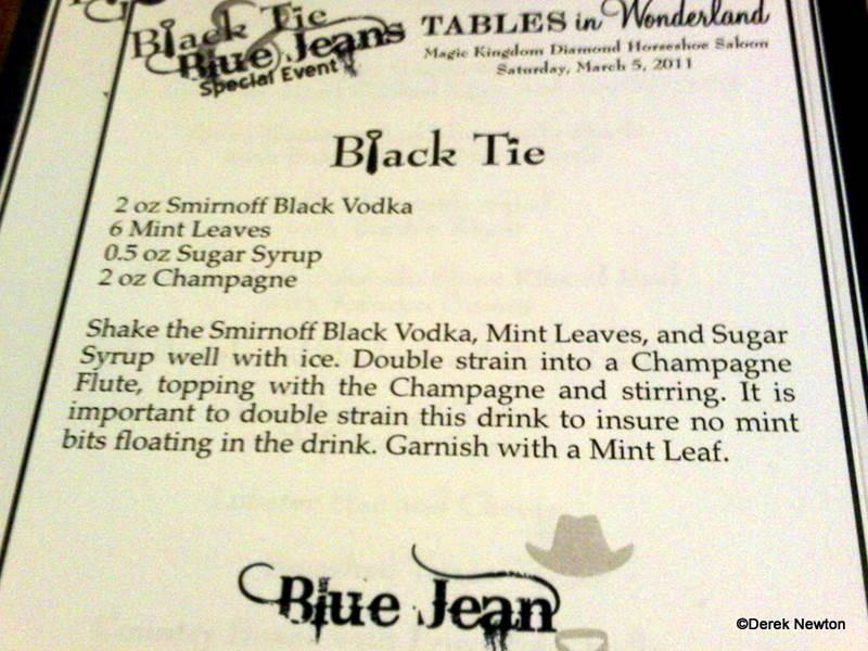 Black Tie Event Menu
