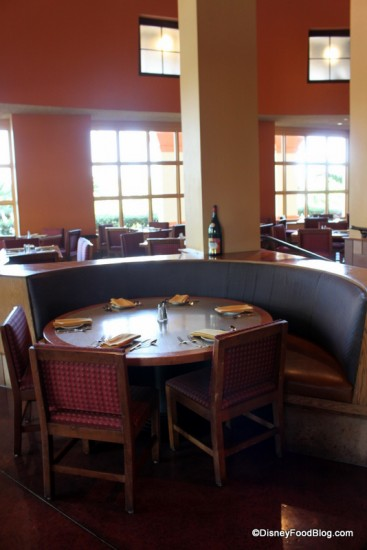Tables by the window could offer a view