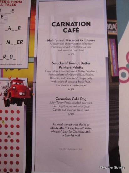 Menu At Carnation Cafe Disneyland