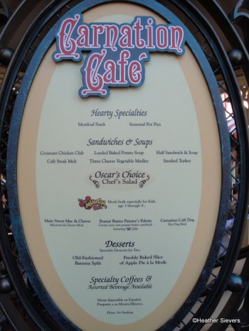 Carnation Cafe Menu Board