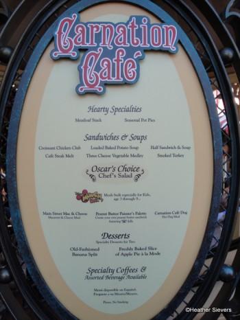 Carnation Cafe Menu Board