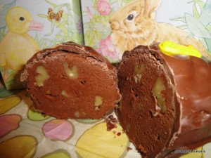 Chocolate Nut Fudge Egg Cross Section
