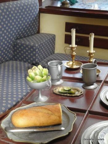 Artichoke & Bread (notice the eaten leaves on the plate!)