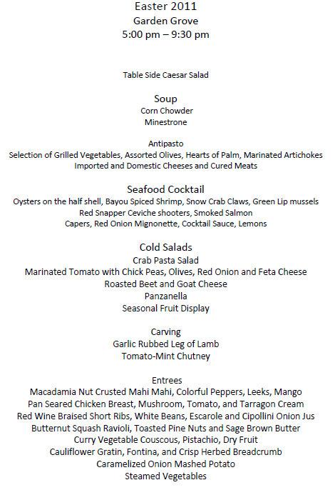 Disney restaurants offer easter meals in 2011 the disney for Easter brunch restaurant menus