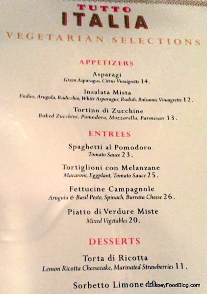 Vegetarian Menu Tutto Italia in Epcot
