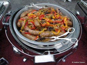 Blackbeard's Banished Bangers w/ Roasted Peppers & Black Pearl Onions
