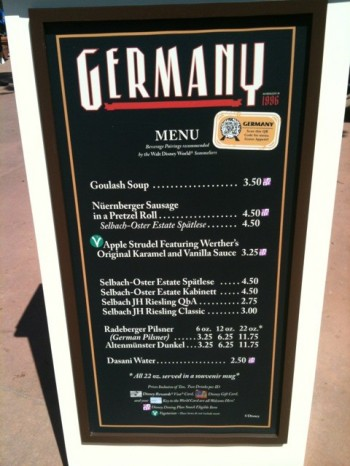 2011 Germany Booth Menu -- Click for larger image