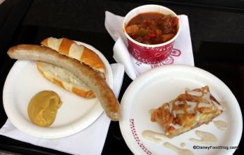 Nürnberger Sausage in a Pretzel Roll, Goulash and Apple Strudel
