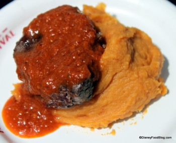 Seared Filet of Beef with Smashed Sweet Potatoes and Braai Sauce