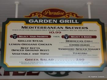 Paradise Garden Grill Menu Board