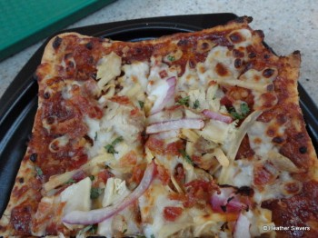BBQ Chicken Flatbread Pizza Close Up