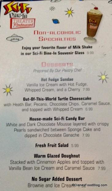 Sci-Fi Dine-In Dessert Menu