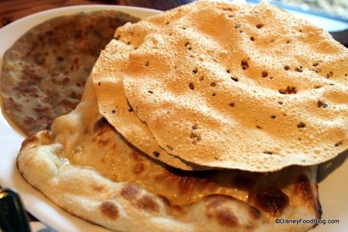 A Few Bread Service Choices -- Naan - Onion Kulcha - Paneer Paratha