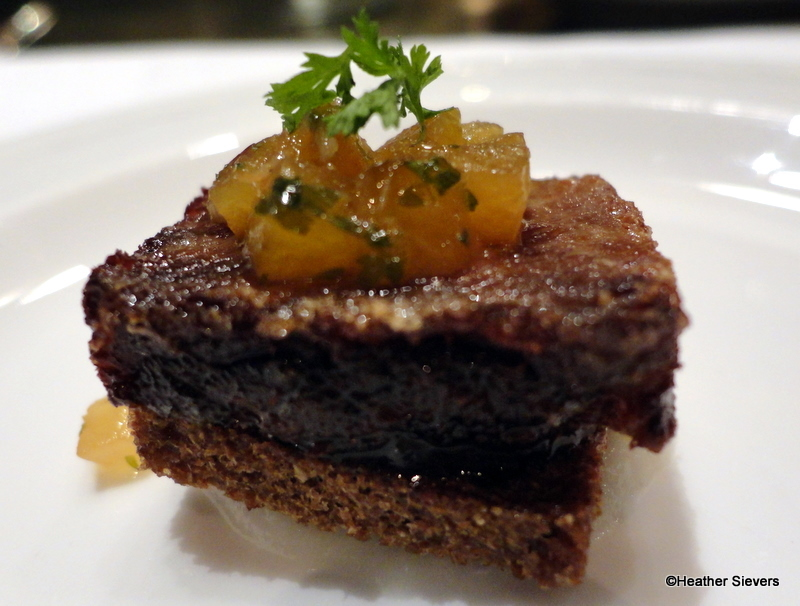 Braised Spare Rib with Onion Puree, Pumpernikel, and Pluat Amuse ...