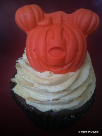 Nutty Caramel Apple Cupcake Topped with Pumpkin Mousse