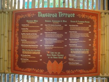 Tangaroa Terrace Menu Board