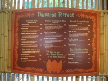 Tangaroa Terrace Menu Board