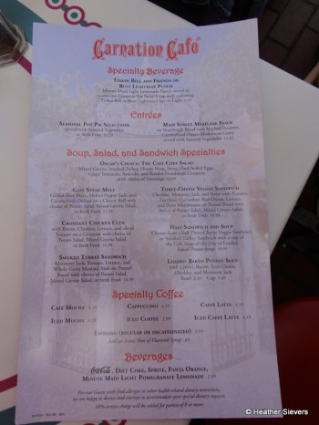 Carnation Cafe Menu