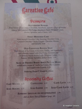 Carnation Cafe Dessert Menu