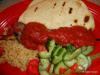 Steak Skewer Platter with Moroccan Chili Sauce
